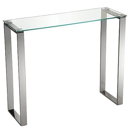 DonRegaloWeb–Console–Ricevitore–Tavolo di ingresso in metallo e vetro con le gambe in cromo
