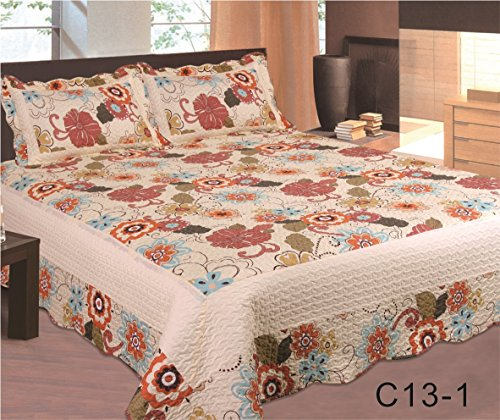 Red Wild Flower Bedspread 3Pc Bed W/ Pillow Shams King Size 001K