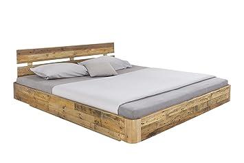 Woodkings® Bett 180x200 Hampden inkl. Matratze und Lattenrost, Doppelbett komplett, recycelte Pinie Schlafzimmer Massivholz Design Doppelbett Schwebebett massive Naturmöbel Echtholzmöbel gunstig