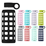 purifyou Premium Glass Water Bottle with Silicone Sleeve and Stainless Steel Lid, 12/22 / 32 oz (Jet Black, 32 oz) (Color: Jet Black, Tamaño: 32 oz)