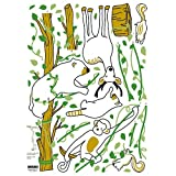 (20x28) Forest Jungle Animals - Monkey Deer Raccoon Bear Repositional Wall Decal