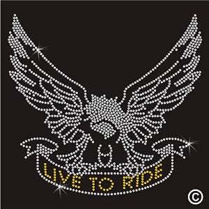 Rhinestone Diamante Crystal Iron On T Shirt Design Transfer - Live to Ride Eagle Biker