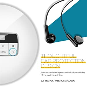 HONGYU Portable CD Player with LED Display /Headphone Jack Anti-Skip Protection Anti-Shock Personal CD Music Disc Player for Kids Adults Students Personal CD Players (Color: CD511 cd Player-white)