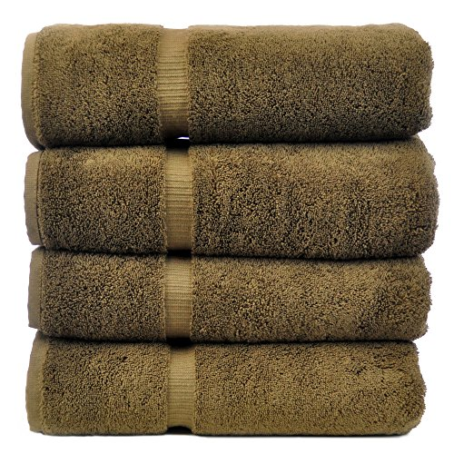 Luxury Hotel & Spa Towel 100% Genuine Turkish Cotton (Bath Towel - Set of 4, Cocoa) Cocoa Bath