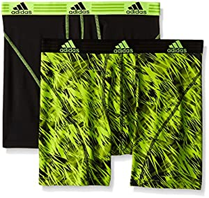 adidas Men's Sport Performance Climalite Boxer Brief Underwear (2 Pack), Semi Solar Slime Draven/Black/Semi Solar Slime, Large/Waist Size 36-38
