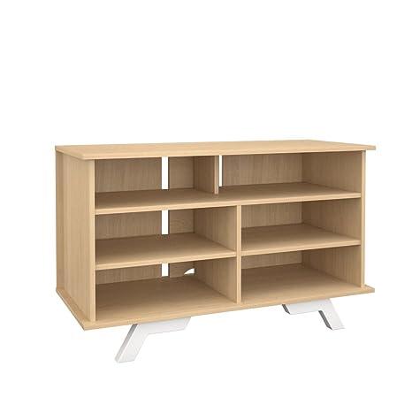 "Nexera 104139 Stiletto TallBoy Storage Cabinet, 42"", White and Natural Maple"