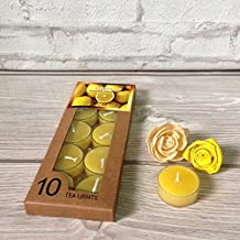 Devinez Scented Lemon Smokeless Tealight Candles With Crystal Case, (Pack Of 10), 4.5 Hour Buring