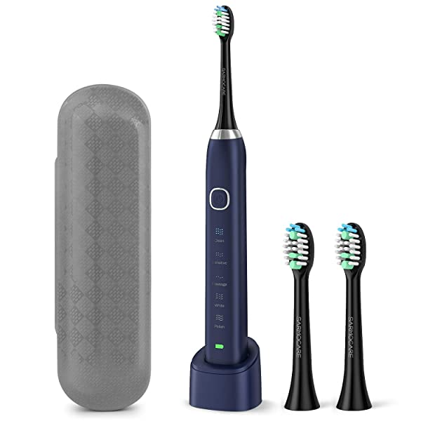 Sonic Electric Toothbrush, USB Rechargeable Toothbrush for Adults and Kids, Portable Travel Electric Toothbrush with 2 Brush Heads, 5 Modes 2 Minutes Timer, IPX7 Waterproof-Blue (Color: Blue)