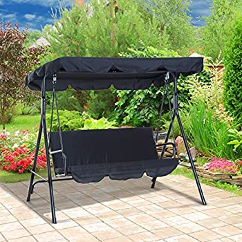 Outsunny Steel Porch Swing Outdoor Lounge Chair 3 Person with Top Canopy