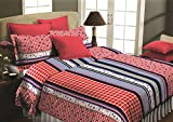 Maissen Belladonna Geometrical Polycotton Double Bedsheet with 2 Pillow Covers - Coral