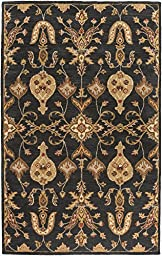 Black Rug Classic Design 2-Foot x 3-Foot Hand-Made Traditional Wool Carpet