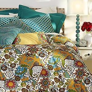 Saphia Bedding Set, QUEEN, TEAL GOLD