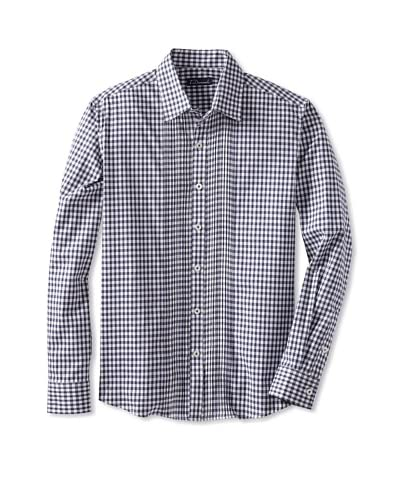 7 Diamonds Men's Heart Of The Matter Checked Long Sleeve Shirt  [Navy]