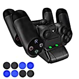 PECHAM DualShock 4 Charging Station - PS4/PS4 Slim Controller Charger Dock - Modern Design & LED Indicator - USB Cable & 8 Thumb Grips (Color: PS4 controller charger, Tamaño: PS4/PS4 Slim Charger)