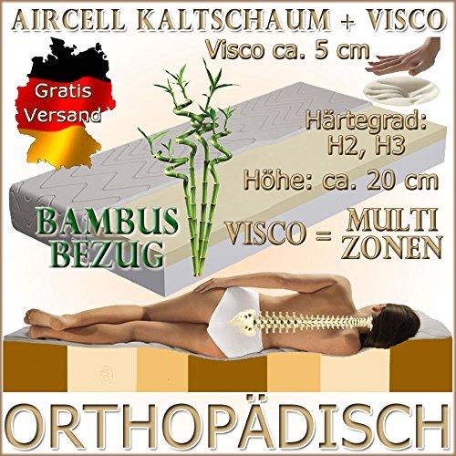 MF13+5 Orthopädische 60x120 cm Visco (RG 50) 5 cm + Kaltschaum (RG 30) Matratze, H3, mit Baumwoll-Bezug, Höhe ca. 20 cm, für Allergiker und verstellbaren Lattenrost geeignet