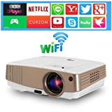 Portable Mini Pico Projector WiFi - Pocket LED LCD Android Projector 3300 Lumen Support Airplay Wireless Mirror 1080P HD Video Projector with HDMI USB VGA AV Home Theater Cinema Outdoor Entertainment (Color: wireless wifi projector)
