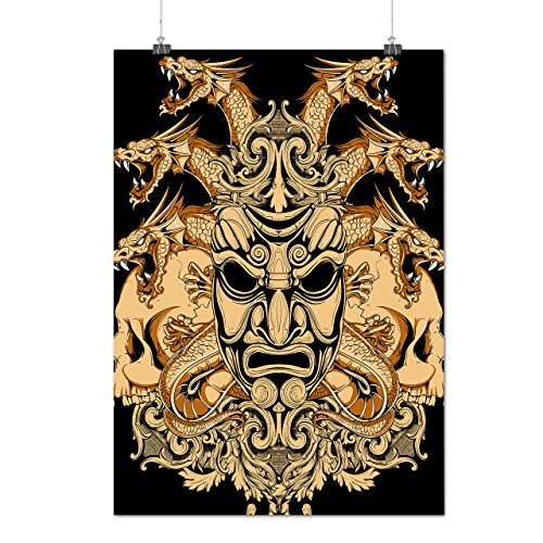 [Chinese Parade Mask Horror Face Matte/Glossy Poster A0 (33x47 inches) | Wellcoda] (Chinese Dragon Parade Costume)