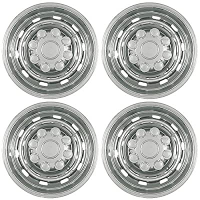 "Set of 4 17"" Chrome Hub Cap Wheel Skins: 2003 -2011 Dodge Ram 2500/ 3500 17x7 Inch 8 Lug 10 Rounded slots steel Rim: IMP/57X"