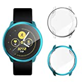 Coobes Screen Protector Compatible with Samsung Galaxy Watch Active Case[2 Pack], Soft TPU Plated Protective Cover Ultra-Thin Bumper Frame for Galaxy Watch Active 40mm Smart Watch (Green+Clear) (Color: Green+Clear)