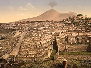 Vintage Travel Poster - General view and Vesuvius Pompeii Italy 24 X 18