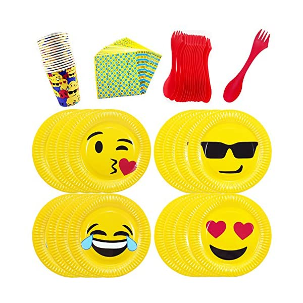 Emoji Theme Birthday Party Tableware Pack Set For 16
