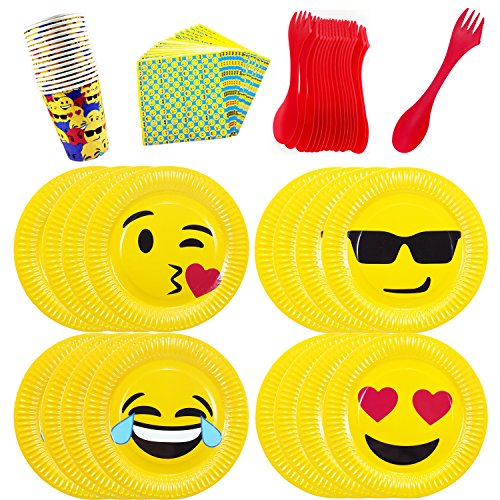 Emoji-Theme-Birthday-Party-Tableware-Pack-Set-for-16-Emoji-Plates-Cups-Napkins-Utensils-