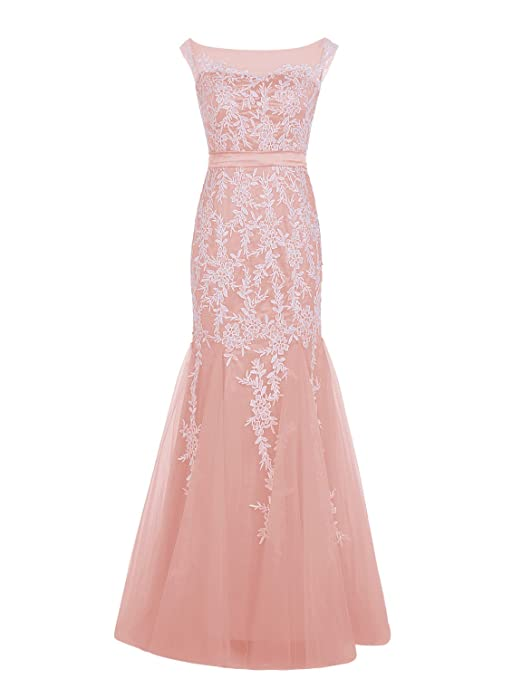 Dressystar Long Lace Bridesmaid Dress Mermaid Evening Party Dress Size10 Blush
