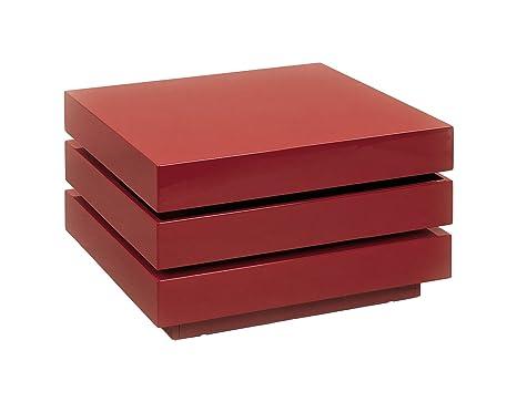 Couchtisch Wohnzimmertisch Trilogie, Marsala (Wein-Rot) hochglanz lackiert 70x70