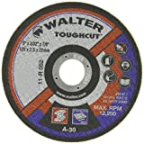Walter Toughcut Performance Cutting with Angle Grinders Cutoff Wheel, Type 1, Round Hole, Aluminum Oxide, 5″ Diameter, 3/32″ Thick, 7/8″ Arbor, Grit A-30 (Pack of 25)