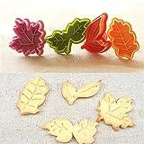 ElecMotive 4 teiliges Blätter Cookie Cutters Plätzchenformen Backformen Fondant Keks Ausstechformen Set mit Auswerfer Farbe zufällig gesendet