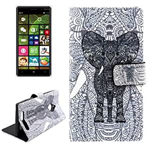 Elephant Pattern Cross Texture Leather Case with Holder & Card Slots for Nokia Lumia 830