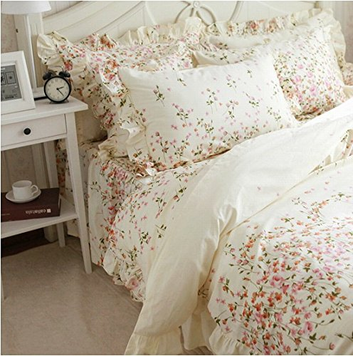 Lovely FADFAY Home Textile Romantic Floral Print Bedding Set Elegant Shabby Bedding Set Pcs