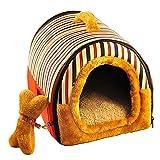 Yihiro ペットハウス ドーム型 手提げ 猫 犬 2WAY 室内用 ペットベッド マット付き 快適 ふわふわ 通気性良い レッド S