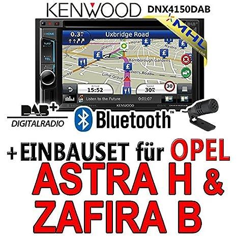 Opel astra h, zafira b-argent - 2DIN navigationsradio dNX4150DAB kenwood autoradio dAB uSB avec mHL kit de montage