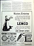 Old Original Antique Victorian Print Carter'S Liver Pills Lemco Adverts Policeman Bovril Bennett 1901 309RG617
