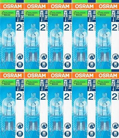 10 Stück Osram Halopin Halogen-Stiftsockellampe 230V G9 60 Watt