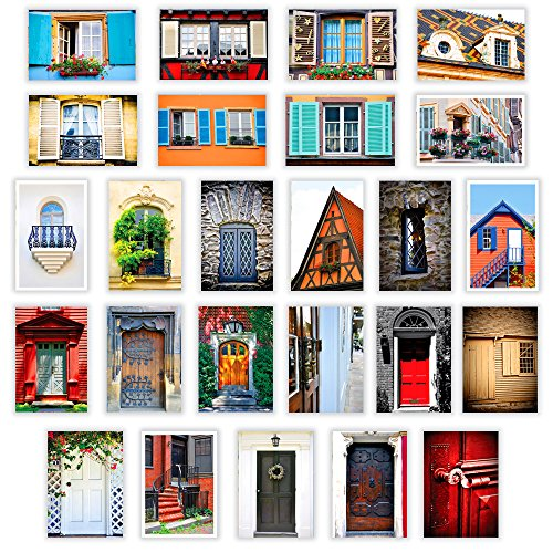 DOORS & WINDOWS postcard set of 25. Post card variety pack with door and window theme postcards. Made in USA.