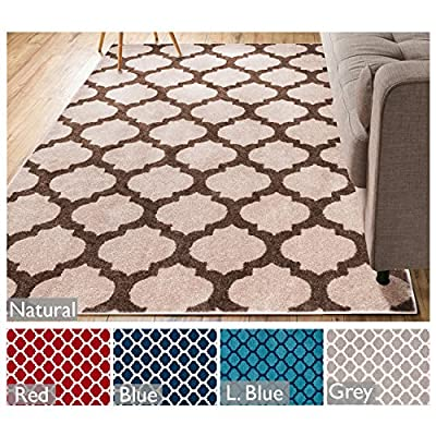"""Tinsley Light & Dark Blue Moroccan Trellis Modern Geometric Pattern 3'3"""" x 5 Area Rug Soft Shed Free Easy to Clean Stain & Fade Resistant"""