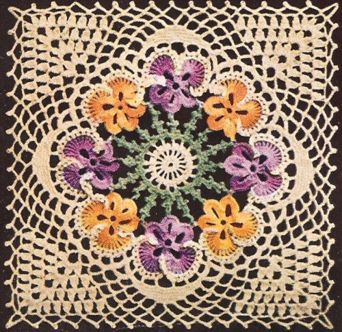 Vintage Crochet Pattern To Make Motif Block Bedspread Pansy Flower