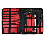 uxcell 23 Pcs Car Trim Removal Tools Kit Nylon Red Panel Dash Audio Radio Tire Valve Repair Kits (Tamaño: 23pcs)