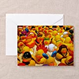 CafePress Rubber Ducks on Parade Greeting Card 4x56 Multi color Matte