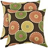Greendale Home Fashions Outdoor Accent Pillows, Flowers on Chocolate, Set of 2