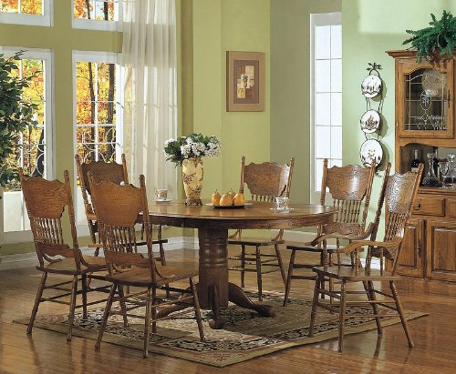 price coaster 7pcs country solid oak nostalgia dining table 6 chairs
