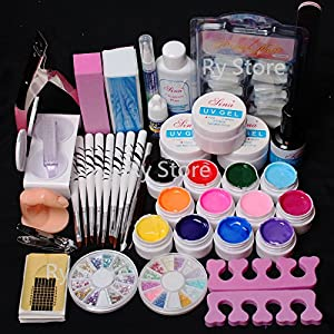 US Seller ~ 24 in 1 Combo Set Professional Color UV Builder Gel DIY Nail Art Decorations Kit Brush Buffer Cuticle Revitalizer Oil Pen Tools Natural White Nail Tips Rhinestones Pearls Cutter Sanding Files Forms Glue UV Gel Set #43 (E)