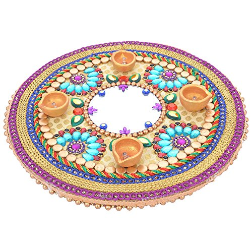 Rangoli Twisha Wooden Rangoli With 4 Diyas Cream