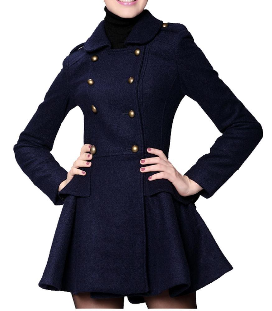 Женское шерстяное пальто Long Winter Blue Double Breasted Coat Wool Coat