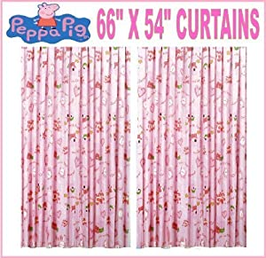 Amazon.com - Peppa Pig Pink Bed Time Tab Top Ready Made Curtains Set