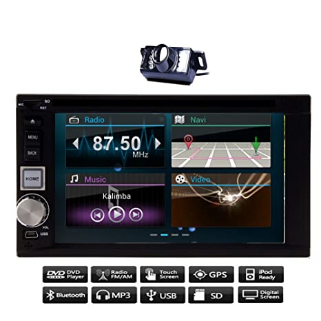 Radio Auto gratuito Cš¢mara WiFi Android universelle HD CapacitiveTouch d'šŠcran de navegaciš®n GPS de coche Autoradio CD DVD Video Player 6.2 '' 2 DIN USB / SD Car Stereo FM Radio AM Transmisor de BT Autoradio Reprodu