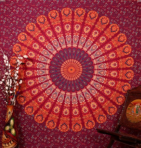 elegante indische mandala ta rie rot baumwolle pfau. Black Bedroom Furniture Sets. Home Design Ideas