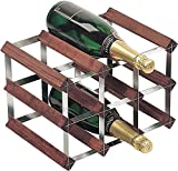 RTA 9-Bottle Galvanised Steel Pre-Assembled Wine Rack, Dark Pine